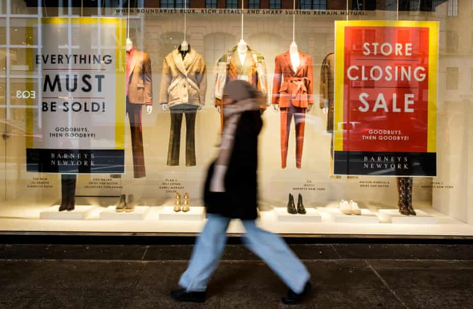 Closing signs in the window of Barneys in New York, New York, in November 2019.