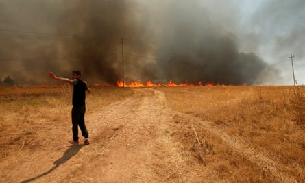 An Iraqi man asks for help to put out a fire in a wheat field in Bashiqa, east of Mosul