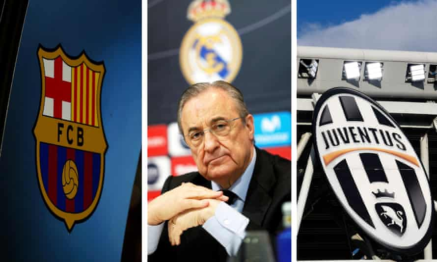 Barcelona and Juventus badges, either side of the Real Madrid president Florentino Pérez.