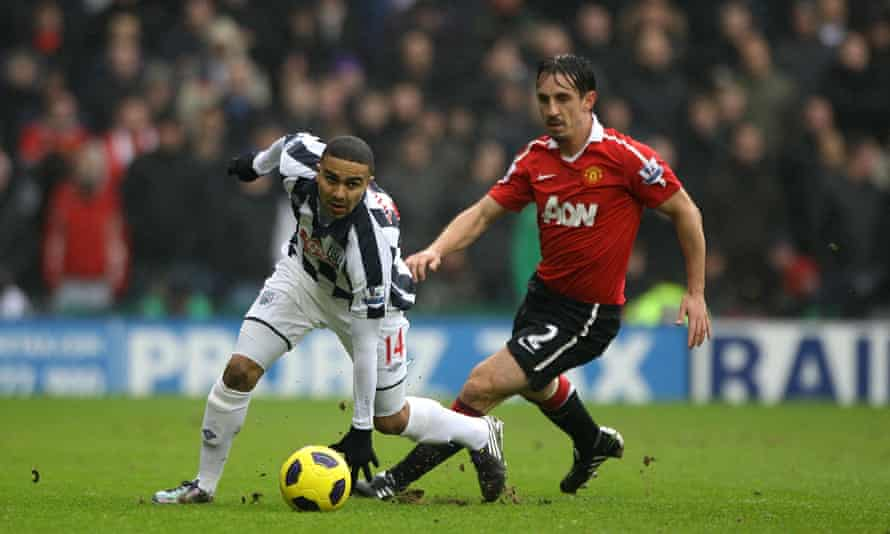 West Bromwich Albion's Jerome Thomas (left) gets away from Manchester United's Gary Neville in January 2011 .