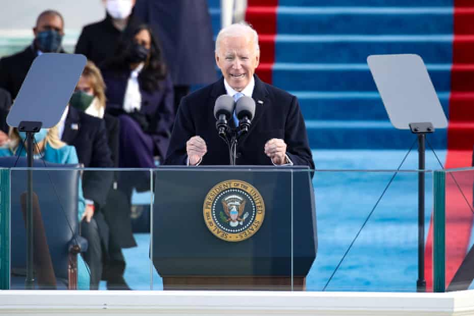 President Joe Biden delivers his inaugural address on the Capitol on 20 January: 'A cry for racial justice some 400 years in the making moves us. The dream of justice for all will be deferred no longer.'