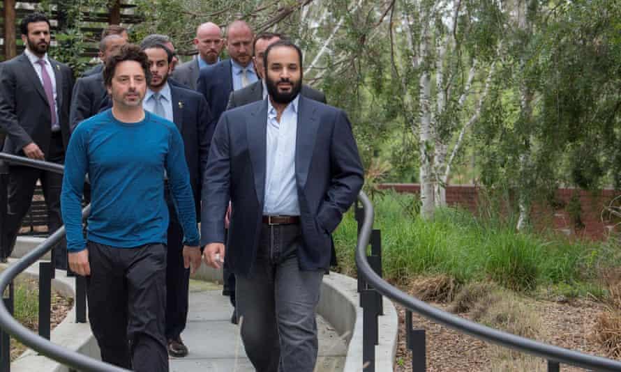 Crown Prince of Saudi Arabia Mohammed bin Salman meets with Google co-founder Sergey Brin in California.