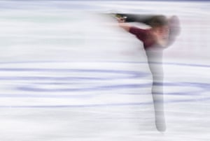 An ice skater in competition in Stockholm, Sweden