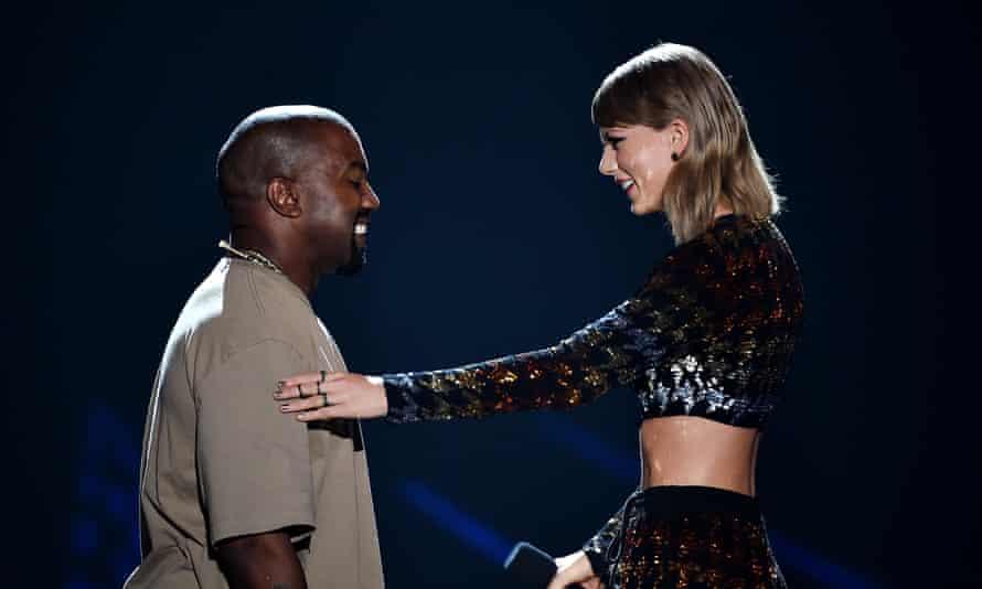 Happier times … Kanye West and Taylor Swift at the 2015 MTV VMAs.