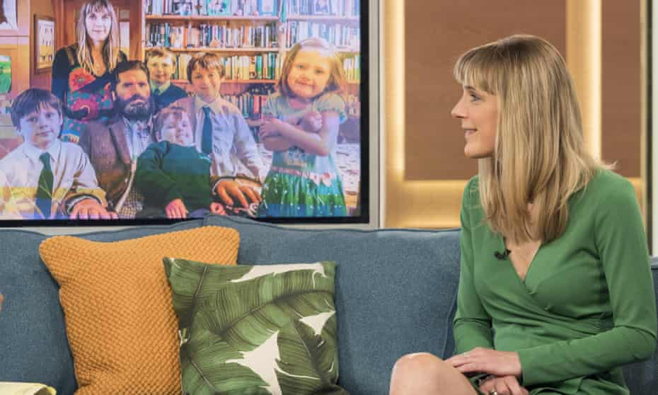 Ruth Fitzmaurice on ITV's This Morning, with a photograph of her family at home.