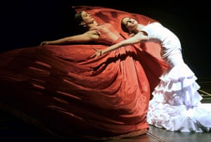 Dancers perform during a preview of the Flamenco, India show at the Calderón theatre in Valladolid, Spain.