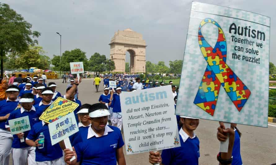 School children participate in a march in Delhi on World Autism Awareness Day, on 9 April.