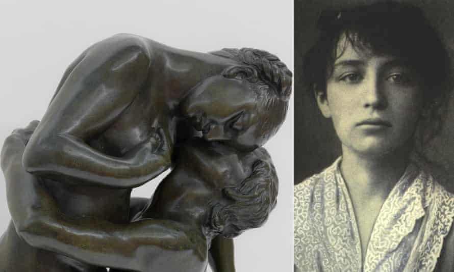 Camille Claudel, the French sculptor, and one of her works, L'Abandon.