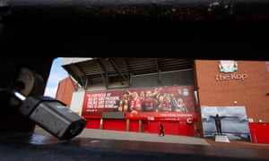 A locked gate outside the Kop at at Anfield.