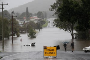 The Myall River has broken its banks and flooded Stroud Street in Bulahdelah