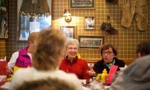 A group of friends, all former employees at Bangor Blouse Company, exchange presents Dietz Tavern on 13 December 2017 in Pen Argyl, Pennsylvania.