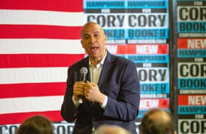 Cory Booker addresses voters at a campaign stop in Lebanon, New Hampshire.