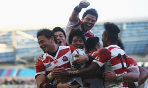 Japan's Ayumu Goromaru (furthest left) celebrates scoring his side's second try against South Africa. The 29-year-old has been the unexpected star of the pool stages after not making the Japanese squad in 2011.