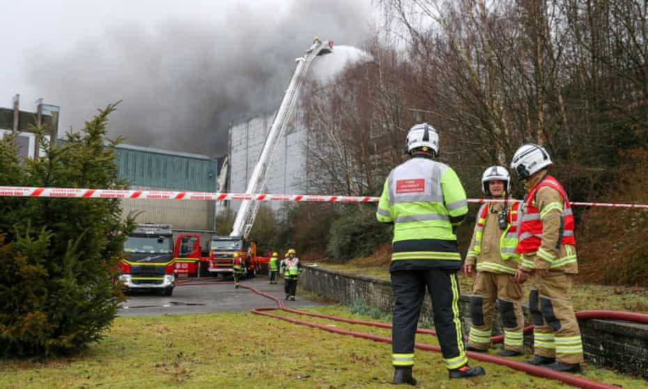 Firefighters at the scene of the fire in Andover