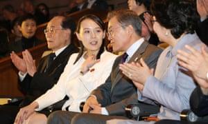 South Korea's president Moon Jae-in talks with Kim Yo-jong, the younger sister of Kim Jong-un.