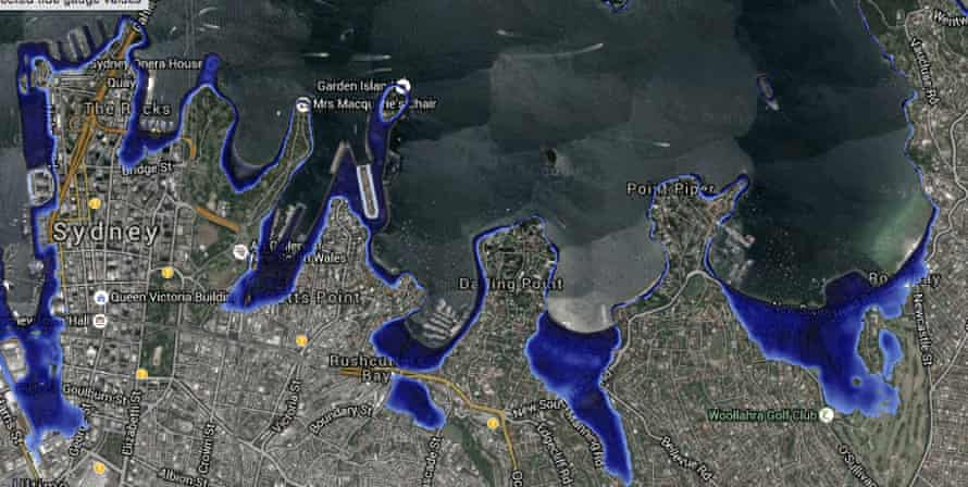 A visualisation of Sydney's eastern suburbs in 2100, under the five-metre sea level rise scenario