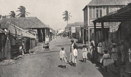 A street in rebuilt Port Royal, circa 1895.