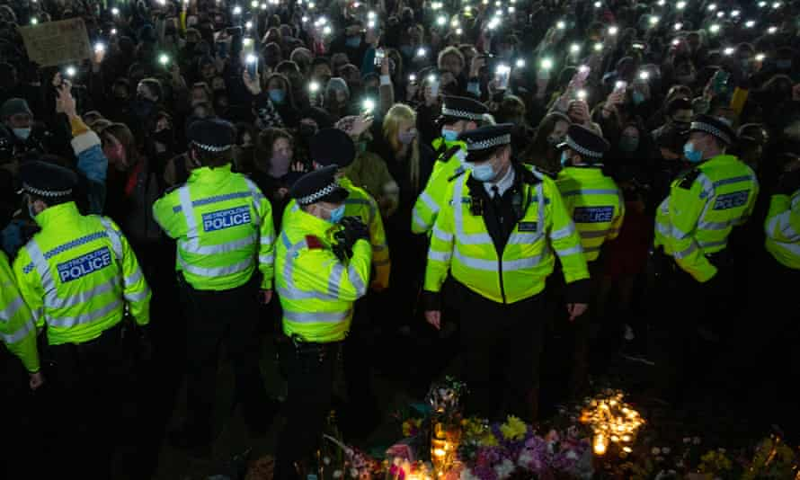 Metropolitan police offers at the vigil for Sarah Everard in Clapham Common, south London