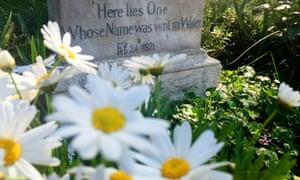 'Writ in water': the poet John Keats' grave in Rome.