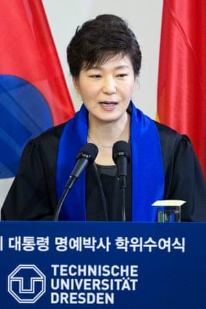 President Park Geun-hye speaks in Dresden in March 2014.