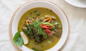 Dish of braised beef in green curry at Baan, Bangkok
