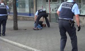 Police arrest a man in Reutilingen, Germany.