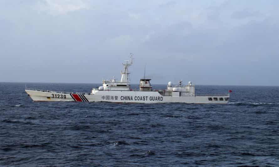 Chinese coastguard ship near the Senkaku islands  in the East China Sea