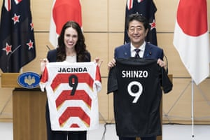 New Zealand Prime Minister Jacinda Ardern Visits JapanTOKYO, JAPAN - SEPTEMBER 19: New Zealand Prime Minister Jacinda Ardern (L) and Japan's Prime Minister Shinzo Abe (R) hold jerseys bearing their names after a joint press conference on September 19, 2019 in Tokyo, Japan. Arden is on a five-day visit to Japan. (Photo by Tomohiro Ohsumi - Pool/Getty Images)