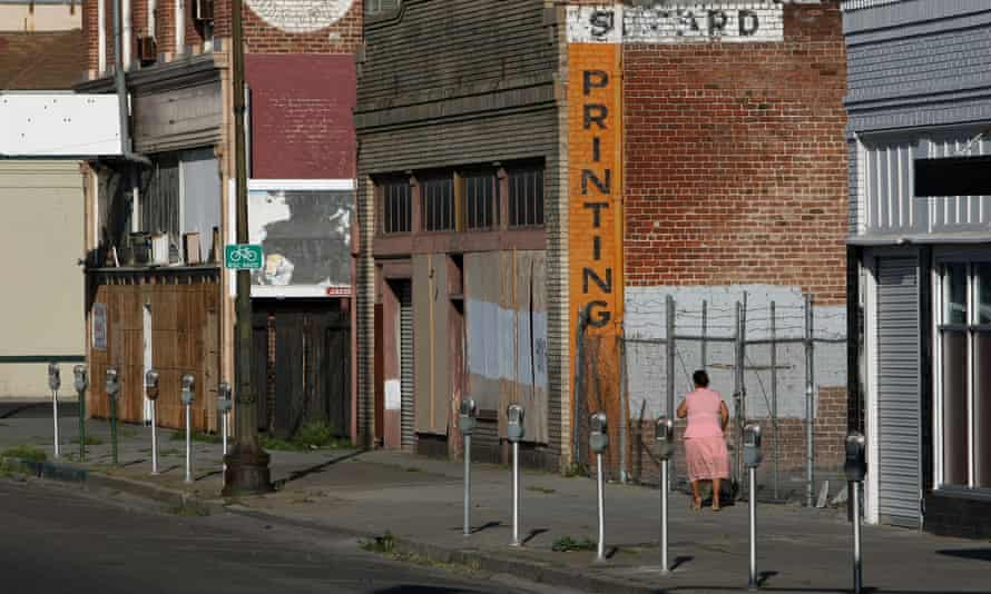 A deserted section of downtown Stockton, California, in 2008.