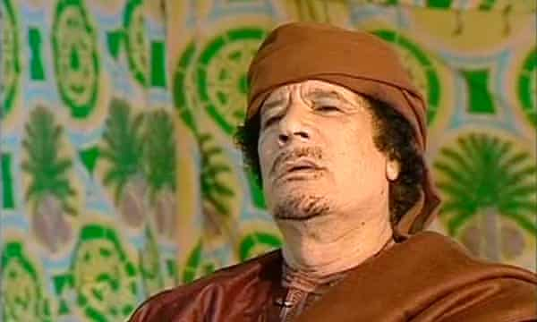 Gaddafi on March 17, 2011, before the UN Security Council passed a resolution to support a no-fly zone and military strikes against Gaddafi's forces to protect civilians.