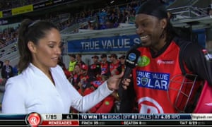 A screengrab showing the cricketer Chris Gayle being interviewed by Channel Ten reporter Mel McLaughlin.