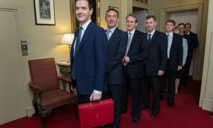 Jim O'Neill (second from left) on the former chancellor George Osborne's team in March.