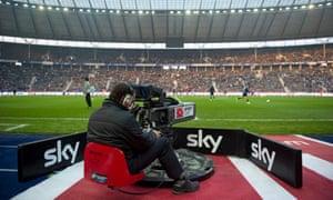 A Sky TV cameraman working during a Bundesliga match between Hertha BSC Berlin and Borussia Moenchengladbach.