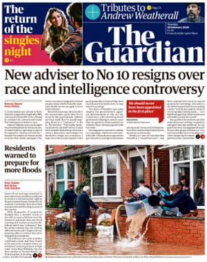 Guardian front page, Tuesday 18 February 2020
