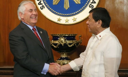 Rex Tillerson and Rodrigo Duterte did not take questions from reporters about human rights following their meeting in Manila.