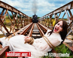 The TGV poster showing the woman tied to the railway tracks.