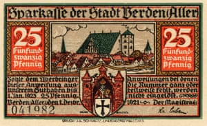 The front side of a Notgeld from Verden, 1921, showing a view of the city and the city gates