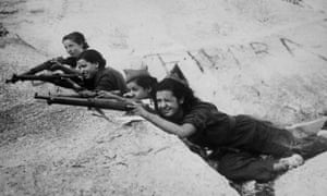 Girl snipers, fighting for the government, during the Spanish civil war.