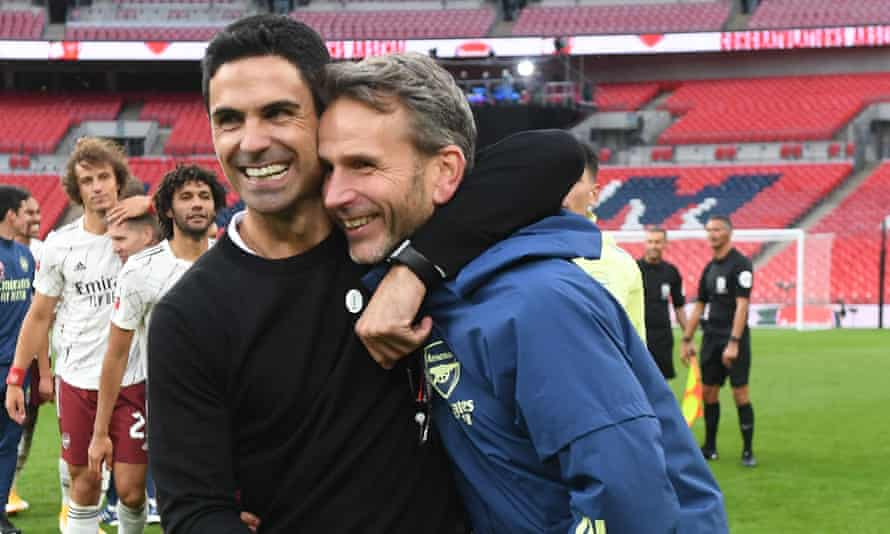 Arsenal's head coach, Mikel Arteta, celebrates with his assistant, Albert Stuivenberg, after the FA Community Shield win over Liverpool at Wembley.