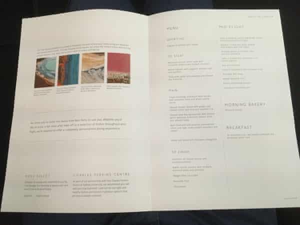 The business class menu on Qantas flight QF9
