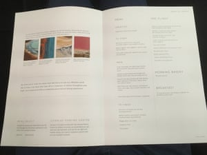 The business class menu on Qantas flight QF9