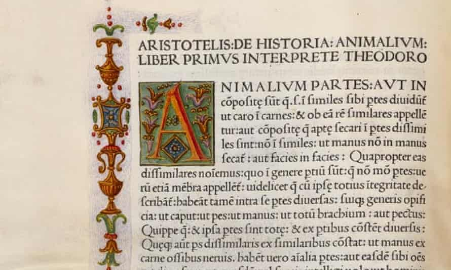 A page from a rare edition of Aristotle's De animalibus which will be auctioned at Bonhams in New York on 8 June.