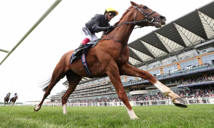 Frankie Dettori rides Stradivarius in the Gold Cup at Royal Ascot.