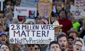 Anti-Donald Trump protesters gather in Austin, Texas, on Trump's inauguration day.