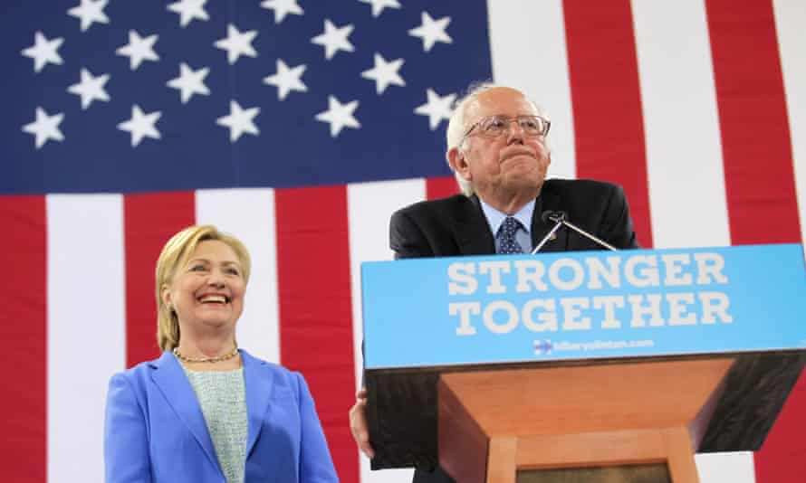 Hillary Clinton with Bernie Sanders earlier this month after the Vermont senator endorsed his former rival for president.