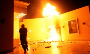 The US consulate in Benghazi in flames during a protest by an armed group in 2012.