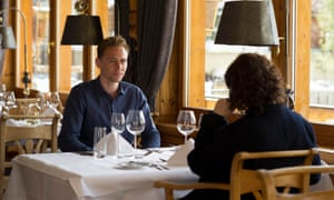 Jonathan Pine and Angela Burr meet in Chalet Hotel Schönegg, Zermatt.