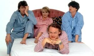 The cast of Men Behaving Badly – Neil Morrissey, Leslie Ash, Martin Clunes, Caroline Quentin – in 1996