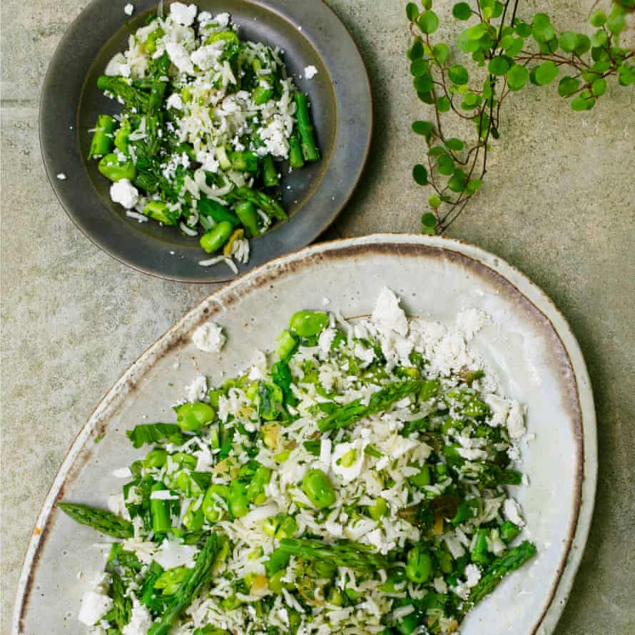 Summer pilaf with preserved lemon and salted ricotta.
