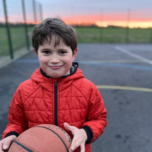 Playing basketball by William, seven